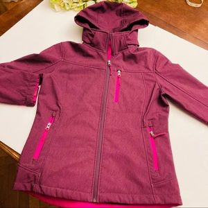 Free Country pink/purple hooded fur lined coat